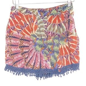 Band of Gypsies Orange lace trim boho shorts